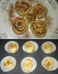 Rosas De Hojaldre Manzana y Canela. Recetas, Gastronomía, Food, recipes, Gastronomy