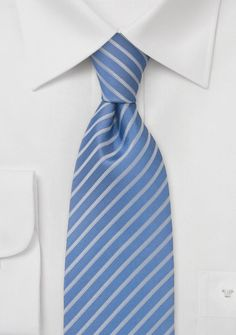 Sky blue necktie with narrow silver stripes