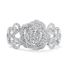 Unique etched rose bridal cuff bracelet has inlaid crystals for a designer look. This bridal bracelet has a hinge for convenient wear.