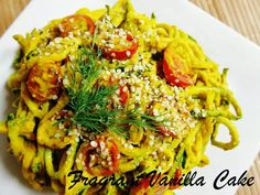 Zucchini 'pasta' with creamy carrot dill sauce.