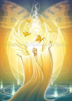 """El Arcángel Jofiel, cuyo nombre significa""""belleza de Dios"""", gobierna el rayo amarillo de la sabiduría y la iluminación. Esto influye en el chakra plexo solar, y por esa razón su rayo a…"""