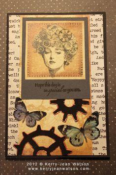 Steampunk handmade birthday card by KJWstudio on Etsy, $10.00
