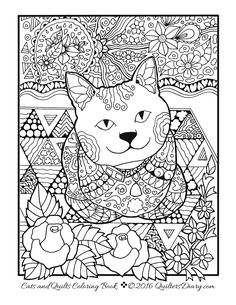 Free Cats Quilts Coloring Page
