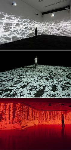 The Seven Seals-seven digital video installation using text and computer tech about various issues of the day Love art installation light decor design travel living inspiration beautiful Projection Installation, Art Installations, Computer Installation, 3d Projection Mapping, Digital Projection, Interactive Installation, Biennale De Lyon, Instalation Art, 3d Art