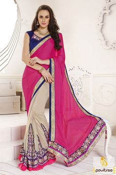 Cobalt blue off white pink designer Saree which is elegant with its handy resham, lace patti and embroidery works. Fabrics used are purest satin patti.