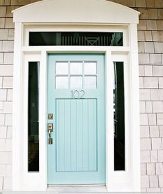 Turquoise Front Door with curb appeal! Paint color is Wythe Blue-Benjamin Moore.Come find Beachy Turquoise Decor Inspiration to float your boat! this BM Wythe BLue Painted Doors, Beach House Decor, Painted Front Doors, House Exterior, House Styles, Front Door, House Painting, Doors, Wythe Blue