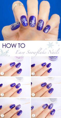 White Christmas nail art tutorial. #christmasnails