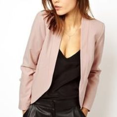 Pale Pink No Collar Blazer Slightly used but in good condition! Asos size 6 pale pink blazer. Pockets in the lower front. Super light material! ASOS Jackets & Coats Blazers