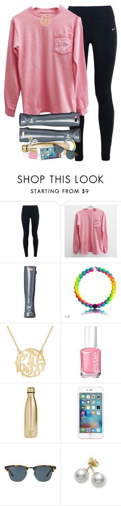"""spamm"" by smbprep ❤ liked on Polyvore featuring NIKE, Hunter, Essie, S'well, Ray-Ban and Mikimoto"