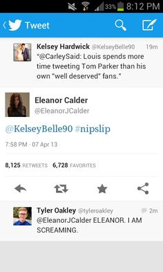 Oh my gosh. Even the girlfriends were involved. Eleanor sure showed her what! ;) haha. And Tyler's little comment below