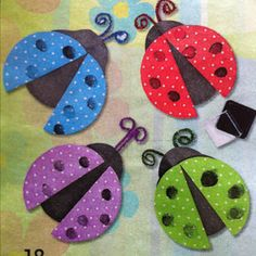 Thumbprint Ladybugs craft idea from Oriental Trading - kids make thumbprints for the ladybugs' spots!