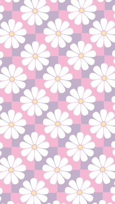 Phone Wallpaper. 'pastel check with daisy'
