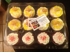 Another happy customer... Angela Suga Pie Hill, used our cupcake container's to hold her delicious looking cupcakes.  You can get this contanier at Plasticcontainercity.com 12 Compartment Hinged Clear Swirl Cupcake Container Item # W-YCASH13103512C-95