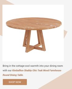 Bring in the cottage-cool warmth into your dining room with our Kimballton Shabby Chic Teak Wood Farmhouse Round Dining Table. #diningroom #interiordesign #homedecor #interior #diningroomdecor #diningtable #furniture #home #design #decor #kitchen #homedesign #interiors #diningroominspo #furnituredesign #interiordesigner #diningroomdesign #dining #decoration #kitchendesign #table #interiorstyling #customfurniture #largetable #solidwood #diningroomdecor #roundtable #roundteakwood Farmhouse Round Dining Table, Solid Wood Dining Table, Dining Room Table, Dining Room Design, Kitchen Design, Custom Furniture, Furniture Design, Hardwood Table, Large Table