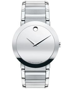 "Movado ""Sapphire™"" Stainless Bracelet Watch, 38 mm Jewelry & Accessories - Watches - All Watches - Bloomingdale's Fine Watches, Cool Watches, Watches For Men, Retro Watches, Women's Watches, Wrist Watches, Stainless Steel Watch, Stainless Steel Bracelet, Movado Mens Watches"