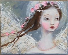 original girl child angel shabby floral portrait by fadedwest, $45.00. Our children are our angels. Perfection!
