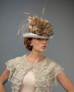 953116RRPS Rider, silver grey with mink – Louise Green Millinery