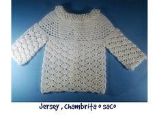 Chambrita, saco o jersey de bebe a crochet 1ª parte - YouTube