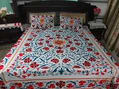suzani Embroidered bed cover bed speard by handicraftofpinkcity
