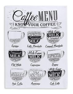 Nice kitchen print/poster of a coffee menu. In our webshop you can find lots of kitchen art with coffee, herbs and butcher charts that will look nice in a trendy home. Order prints easily online for a good price, quick delivery! Coffee Milk, Coffee Art, Coffee Drinks, Coffee Shop, Men Coffee, Coffee Barista, Coffee Cozy, Coffee Creamer, Starbucks Coffee