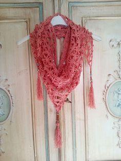 baktus scialle triangolare all'uncinetto in cotone : Sciarpe, foulard, cravatte di ilfilodimari