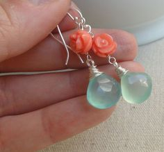 Turquoise & coral Earrings Turquoise and orange by BriguysGirls, $34.00