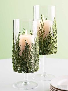 Candle Evergreen Candles - Another simple Christmas decoration idea!Evergreen Candles - Another simple Christmas decoration idea! Noel Christmas, Christmas Candles, Simple Christmas, Winter Christmas, Christmas Crafts, Beautiful Christmas, Christmas Greenery, Christmas Parties, Christmas Displays