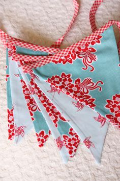 SALE+Aqua+and+Red+Bunting+Flags++Photography+by+StarlitNestGifts,+$26.00