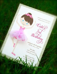 If you love to dance this it the invitation to your birthday party Ballerina Birthday Parties, Ballerina Party, 3rd Birthday Parties, Birthday Party Invitations, 1st Birthday Girls, Birthday Ideas, Girls Party Decorations, Party Themes, Party Ideas