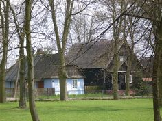 https://flic.kr/p/5486WL | Village green in Firlej | Two ages. The light blue cottage is as traditional as you can find. This color used to indicate that unmarried girls lived there, light blue being associated with the Virgin Mary.