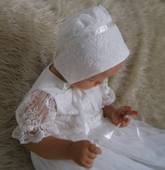 PAULINE Christening Gown Ivory Lace Baptism Gown Baptism