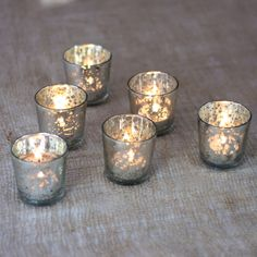 Liquid Motif Mercury Glass Tea Light Candle Holder (2.5-Inch, Silver, Set of 6) - $3.15 ea (18.95 for 6)