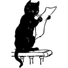 [フリーイラスト素材] クリップアート, 動物 / 生き物, 哺乳類, 猫 / ネコ, 読書 / 読む, 手紙, 黒猫, 白黒 ID:201309062100