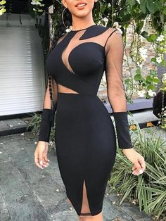 a6502953ea952 Sheer Mesh Patchwork Bodycon Dress dresses chicme Fashion Style chicme  informs you on the latest fashion trendst