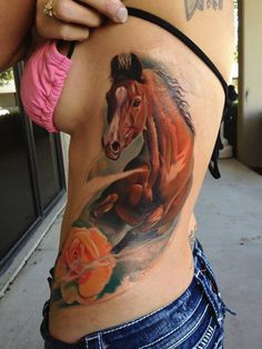 Horse tattoo on side - 40 Awesome Horse Tattoos  <3 <3