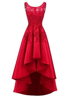 Pretty Tulle & Satin Scoop Neckline Hi-lo A-line Prom Dresses With Hot Fix Rhinestones & Lace Appliques,P1317