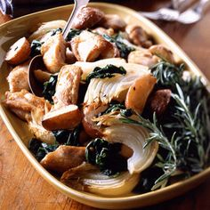 Good Housekeeping, Pan-Roasted Chicken Thighs and Vegetables. Boneless chicken thighs, red potatoes, onion wedges, and spinach come together for an easy and satisfying one-dish meal.