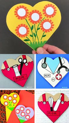 Mother's Day heart cards kids can make for mom and grandma: flower heart card, baker mom card, sewing card and doctor card Mothers Day Crafts Preschool, Easy Mother's Day Crafts, Summer Crafts For Kids, Fathers Day Crafts, Diy Mother's Day Gifts For Grandma, Homemade Mothers Day Gifts, Mothersday Cards, Thank You Cards From Kids, Birthday Cards For Mom