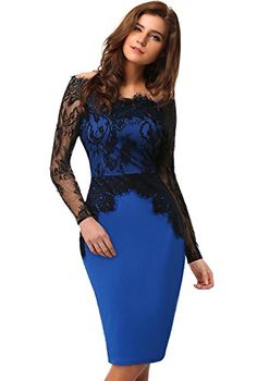 EA Selection Sexy Womens Ladies Long Sleeve Prom Ball Cocktail Party Pencil Dress Black Blue Size S EA Selection http://www.amazon.co.uk/dp/B00PVSXA5S/ref=cm_sw_r_pi_dp_vcCqvb1MS5F87