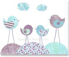 Vivero de aves Aqua y habitación lámina bebé decoración niña lavanda púrpura infantil niños sala de juegos