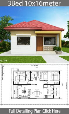 Home design with 3 bedrooms.House description:Number of floors 1 storey housebedroom 3 roomstoilet 2 roomsmaid's room Beautiful House Plans, Simple House Plans, House Layout Plans, Dream House Plans, House Layouts, Flat Roof House Designs, Small House Design, Modern House Design, Modern Bungalow House