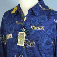 New Reyn Spooner Michigan Wolverines Hawaiian Shirt Sports Go Blue Size M NWT #ReynSpooner #Hawaiian