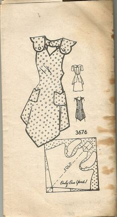 Vintage 30s Bib Apron Pattern One Yard Medium 36-38 bust  American Weekly Mail Order Pockets Unused 1930s One Cent Postage