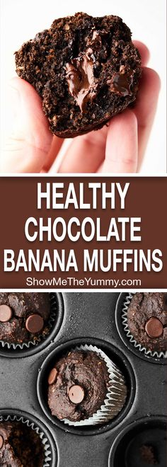 150 calories, these Healthy Chocolate Banana Muffins are healthy enough for breakfast, but indulgent enough for dessert! Made in ONE bowl. Banana Oat Muffins, Chocolate Banana Muffins, Chocolate Cupcakes, Chocolate Chips, Chocolate Brown, Banana Bread, Healthy Muffin Recipes, Healthy Muffins, Breakfast Healthy