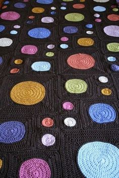 crochet blanket 3 sizes circles in squares
