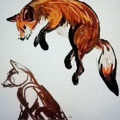 Being a Leicestershire Artist and living in the county of Foxes, how could I not this Autumn time capture a fox jumping and sitting in the grass 🐶 I love all animals and love the insta feeds from @saveafox_rescue rescue centre in America which shows how loving and great personalities these gorgeous creatures are. Thank goodness foxhunting is banned now! For me, watching the colours of Autumn turn and the squirrels and foxes this time of year optimises the season with russets and gold…