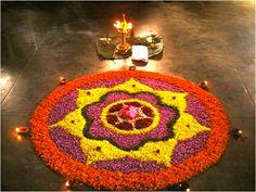 pookolam (flower design) made on floor during the festival - onam Rangoli Designs Flower, Flower Rangoli, Kolam Designs, Flower Designs, Simple Flower Design, Simple Flowers, Simple Designs, Festival Decorations, Flower Decorations
