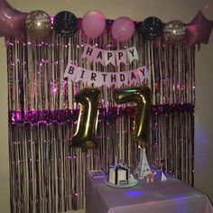 17th Birthday Party Ideas, 21st Bday Ideas, Happy 17th Birthday, 17th Birthday Gifts, Birthday Balloon Decorations, Gold Birthday Party, Friend Birthday Gifts, Birthday Parties, Paris Birthday