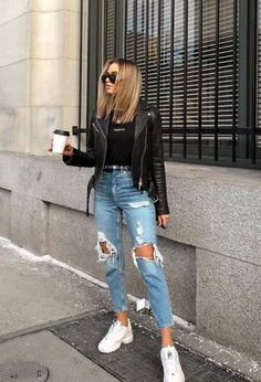 10 comfortable outfits to wear on Sunday – # comfortable … Cute Casual Outfits, Comfortable Outfits, Short Outfits, Spring Outfits, Basic Outfits, Stylish Outfits, Ripped Jeans Outfit, Denim Skirt Outfits, Denim Shorts