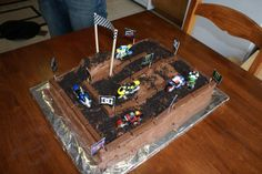 "Dirtbike Cake for a ""Dirtbike"" themed party ... this makes me super-duper happy :D"